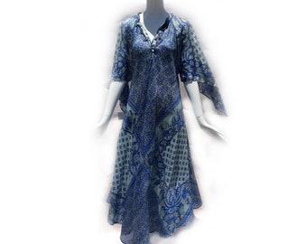 Vintage 70s Floral Floaty Angel Sleeve Silk Bohemian Blue Midi Dress by Zodiac Made in India size Medium
