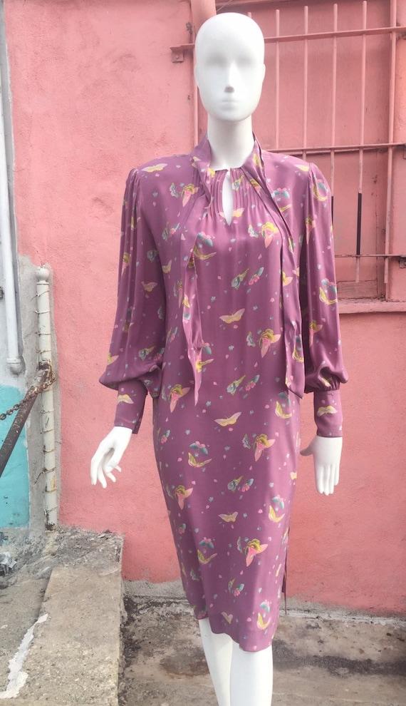 70's Butterfly Print Silk Dress by Hanae Mori
