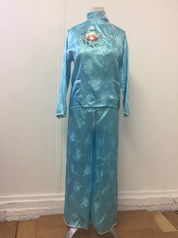 60's Chinese Export Satin Pajama Set