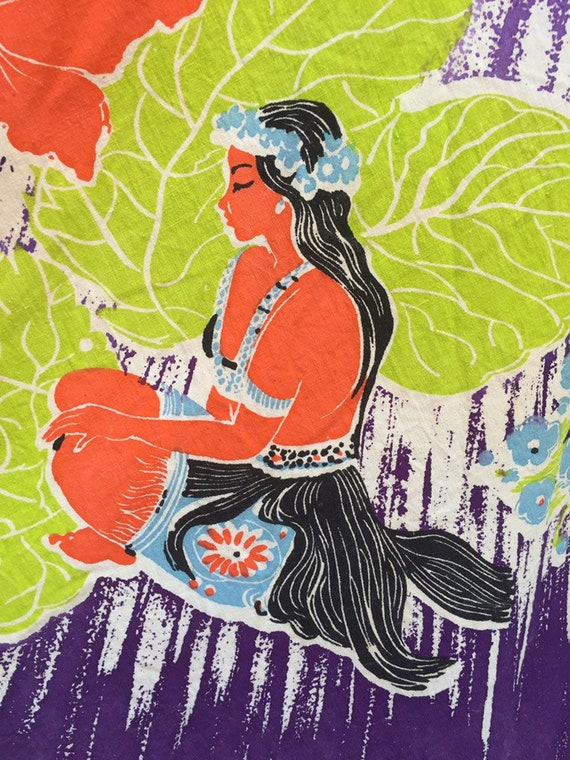 50's Vibrant Hawaiian Print Cotton Skirt - image 7
