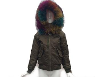 Vintage 90s Reversible Olive to Orange Bomber Jacket with Real Tie Dye Fox Fur Detachable Trim on Hood