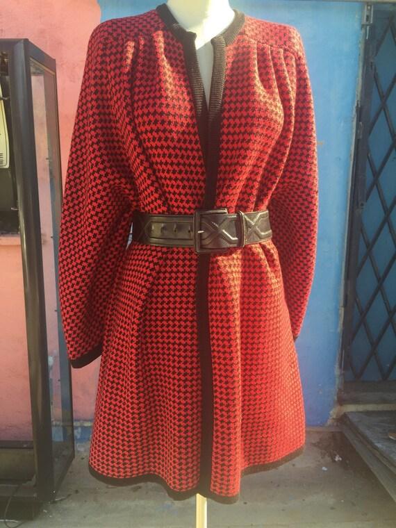 80's Oversized Valentino 'Miss V' Houndstooth Swea