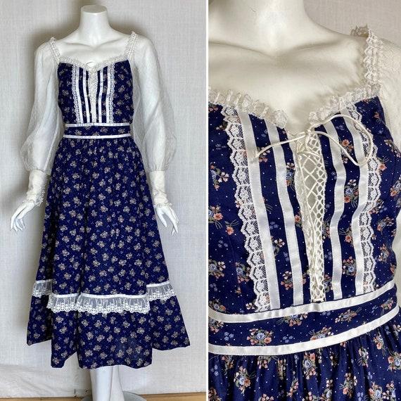 Gunne Sax inspired prairie dress lace up corset
