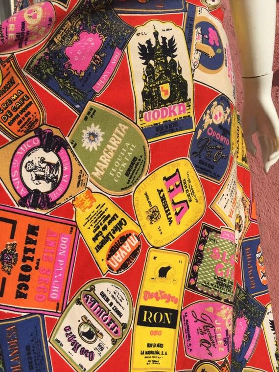 50's Style Liquor Label Novelty Print Skirt - image 8
