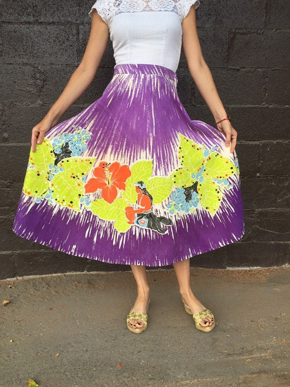 50's Vibrant Hawaiian Print Cotton Skirt