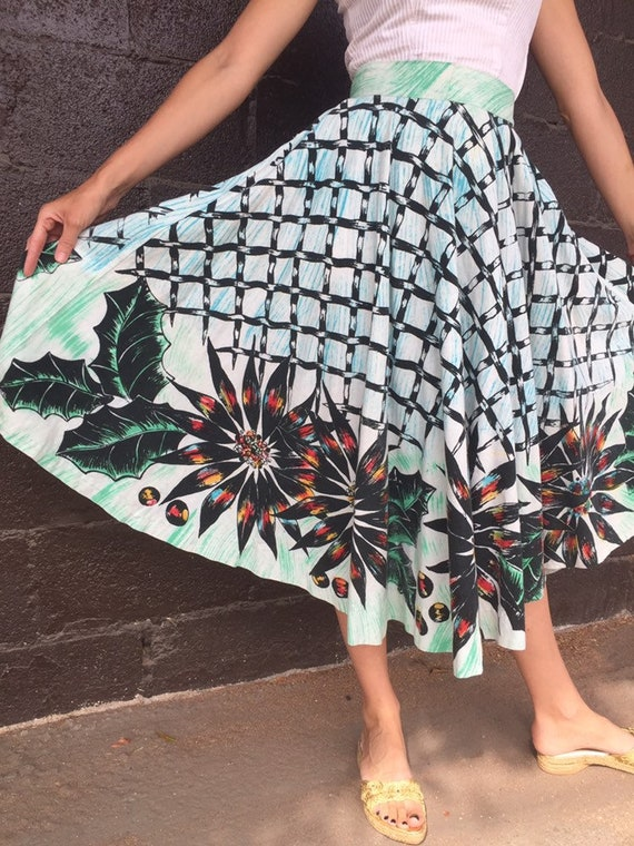 50's Mexican Circle Skirt with Poinsettia Border