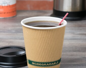 500 counts - 10oz Disposable Ripple Wall hot coffee paper cup with lids