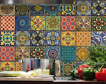 Bleucoin Mexican Talavera Peel n Stick Tile Stickers for Tile Wall Stair Floor Kitchen Bath Backsplash - Removable & Waterproof - Pack of 44