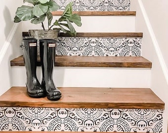 """Amalfi Peel and Stick Stair Riser Vinyl Strip Self Adhesive Waterproof Easy to Trim Removable DIY Decor - Extra Long 49"""" length"""