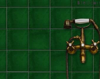 Moss Green Plain Tile Stickers, Kitchen Bathroom Wall Tile Vinyl decal, Peel and Stick Carrelage, Self Adhesive Vinyl Floor stickers