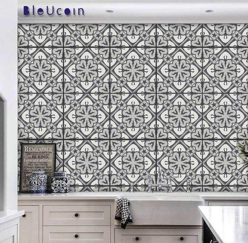 Bergen Grey Vintage Tile Wall Floor Decal For Kitchen Etsy