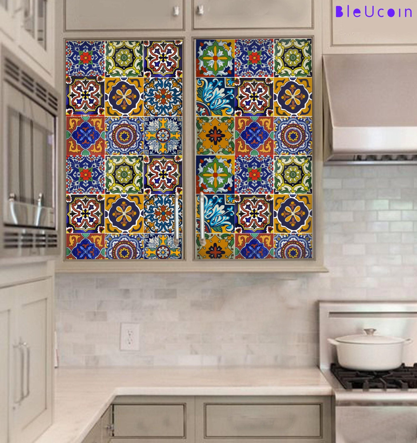 Kitchen/Bathroom Backsplash Tile/ Wall/ Stair/Floor Decal, Removable Floor  Vinyl Decal, Stair Riser, Cabinet Decal : Mexican Style