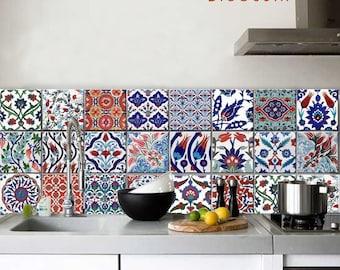 "50% Sale Turkish 6"" x 6"" Pack of 40 Peel and Stick Kitchen Bathroom Backsplash Tile Decal Removable"