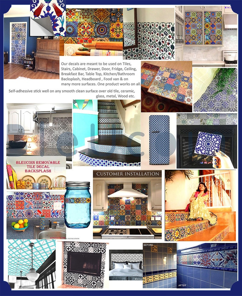 Kitchen Bathroom backsplash Pack of 44 pcs Floor Vinyl Decal Jaipur  Indian Hand Painted style Tile Wall Stairs decal