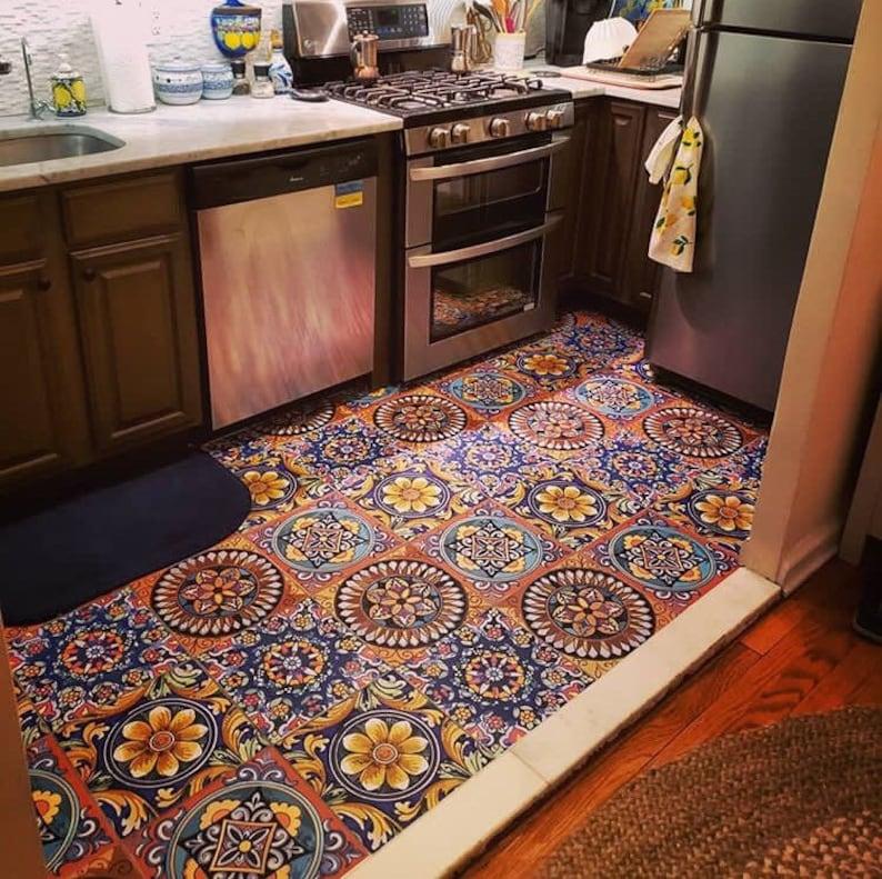 Sicilian Tile Wall Floor Kitchen Bathroom Backsplash Decal Removable Stair Riser Peel And Stick Vinyl Sticker Pack Of 44