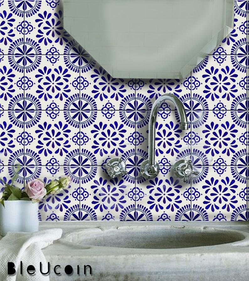 Uriarte Talavera Tile/Wall Decal for Kitchen Bathroom Backsplash, Floor,  Stair Riser, Removable Peel & Stick Tile, Home Decor : Pack of 44