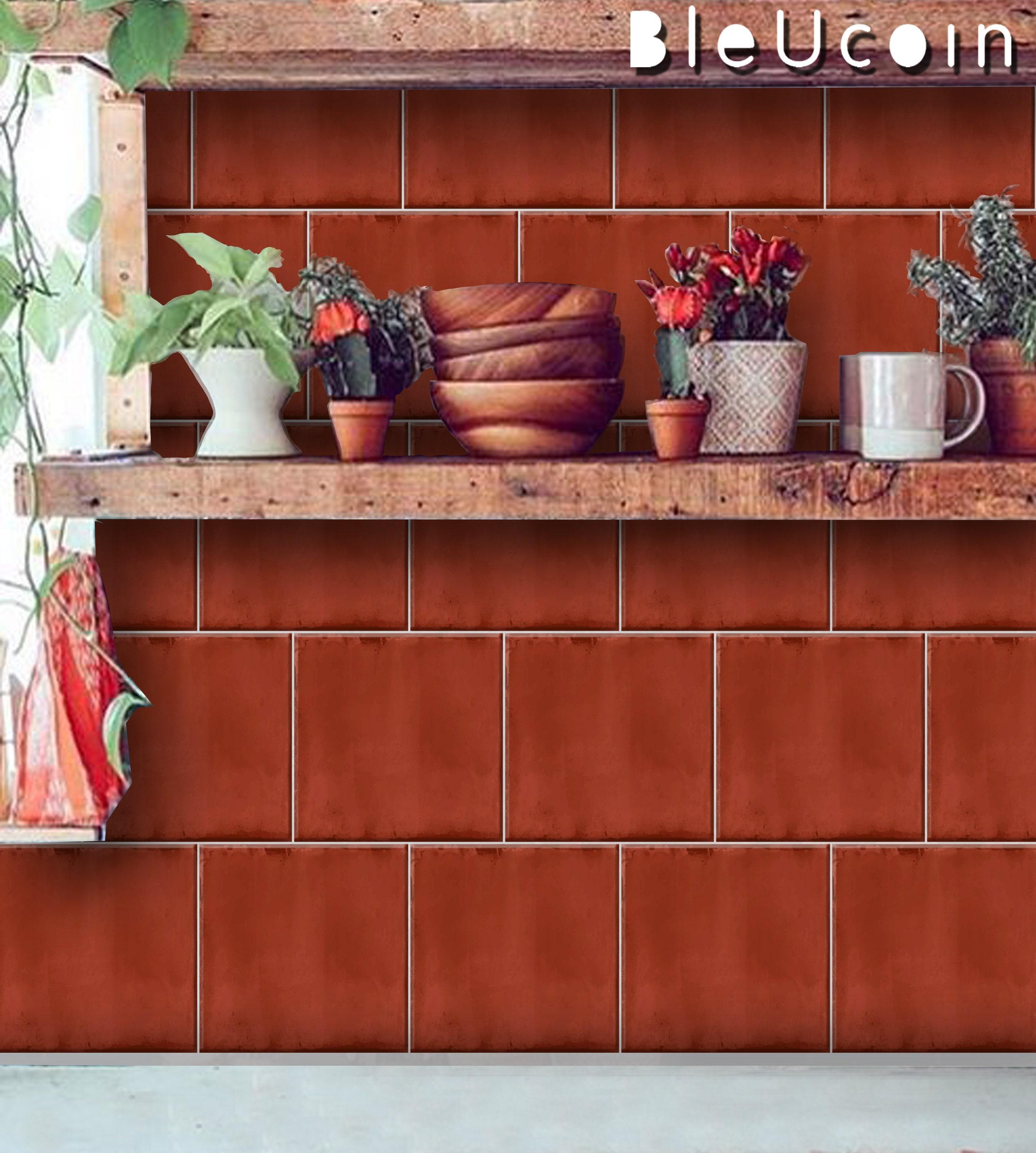 Plain Terracotta Tile Wall Stair Floor Self Adhesive Vinyl Stickers Kitchen Bathroom Backsplash Carrelage Decal Peel
