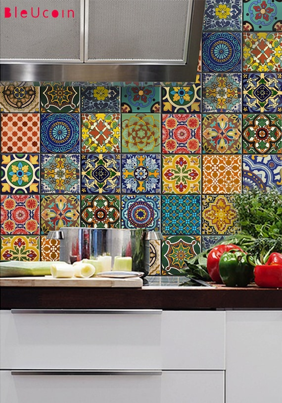 Bleucoin No 21 Mexican Talavera Tilewallstairfloor Vinyl Stickers Removable Kitchen Bathroom Peel Stick Self Adhesive Decal