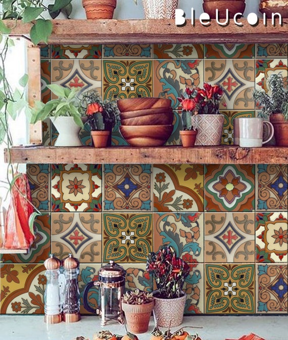 Mexican Terracotta Tile/Wall/Stair Stickers, Removable Decal for Kitchen  /Bathroom/ Door/ Floor/ Fridge/ Floor : Pack of 44