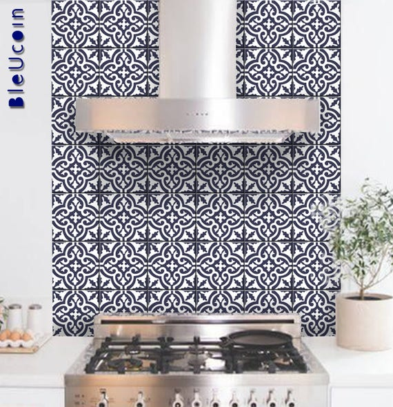surprising Wall Sticker Tiles Part - 3: Tile-Wall Decal: Moroccan Tile Sticker for Kitchen-Bathroom | Etsy