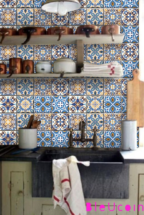 Portugal 8 Entwürfe Mischen Fliesen / Wandtattoo 44pcs Küche | Etsy