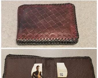 Centurian Style Leather 5 Pocket Billfold with Basket Weave Pattern