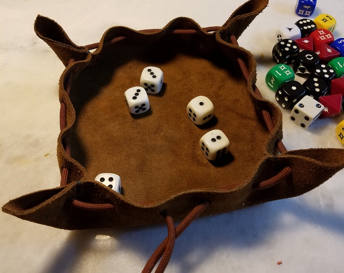 Featured listing image: Suede Leather Dice Tray and Bag