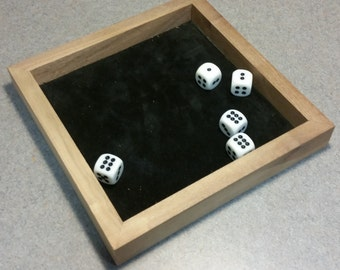 "7"" Black Walnut Dice Tray with Black Suede Leather"