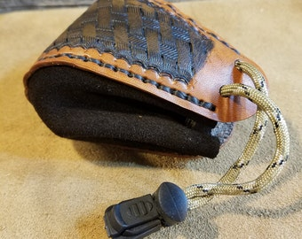 Tooled Leather Dice Bag / Coin Bag / Jewelry Bag