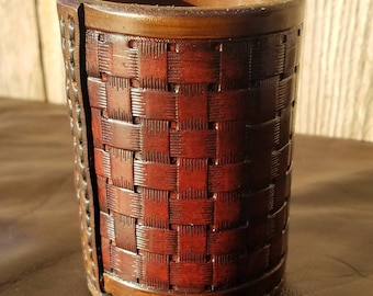 Fully Tooled Leather Dice Cup