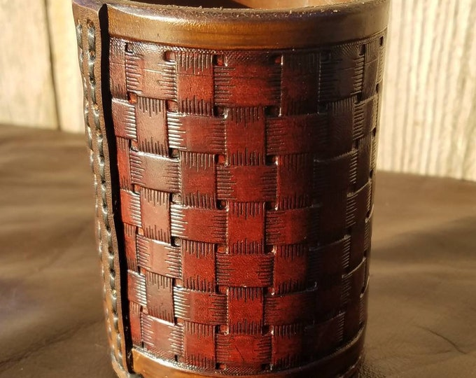 Featured listing image: Fully Tooled Leather Dice Cup