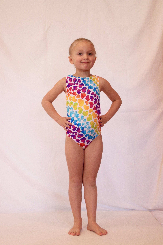 fce7b505c7e Gymnastics Leotard Girls Rainbow Heart Leotard Dance
