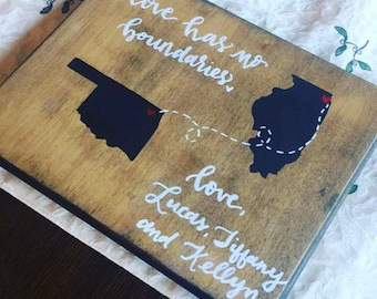 love has no boundaries. wooden love sign. long distance relationsips sign