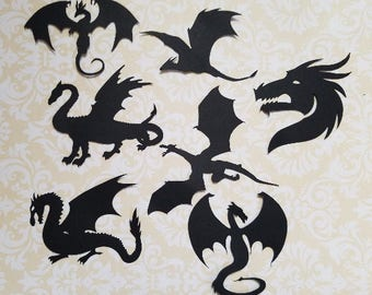 Fantasy Welsh Dragon Fairy Jars Die Cut outs DRAGONS Silhouette Cardmaking