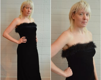 42ce6b3b367e 1990s 90s velvet maxi dress with slit and marabou feather trim sexy slinky  black dress strapless gown prom 90s style size small s medium m