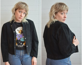1980s 80s suede snap front cropped jacket coat black leather medium large
