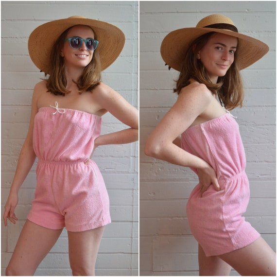 1980s 80s 1970s 70s pink terrycloth romper sleevel