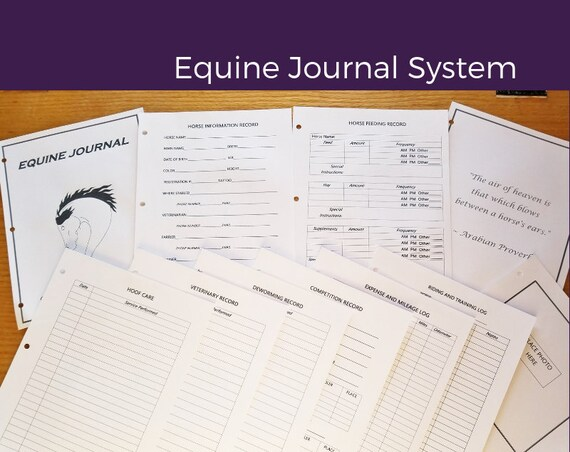 "Equine Journal System, Half letter size, 5.5"" x 8.5"", Mini Binder size, horse record keeping, horse planner, horse health"
