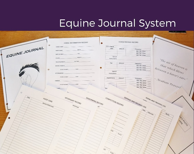 """Equine Journal System, Half letter size, 5.5"""" x 8.5"""", Mini Binder size, horse record keeping, horse planner, horse health"""