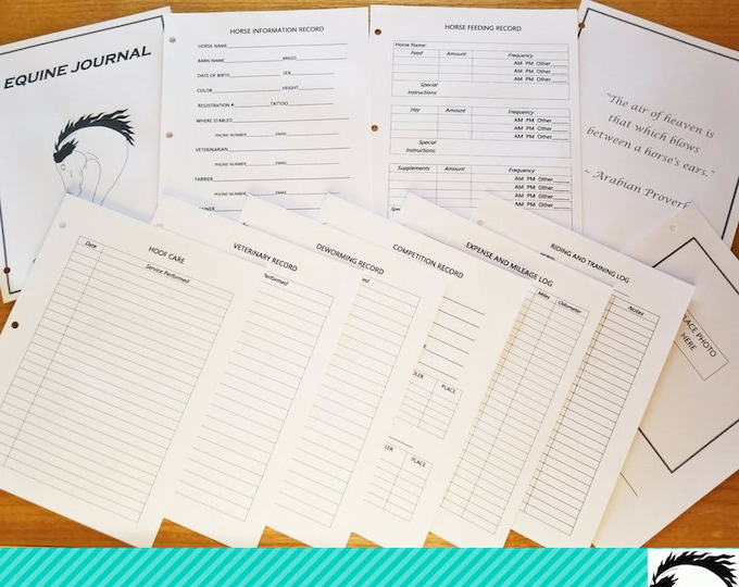 Featured listing image: Equine Journal System, Letter size, horse record keeping, horse planner, horse health and expense tracker