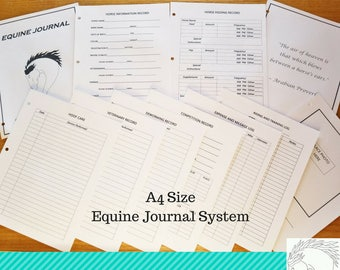 Equine Journal System, A4 size, horse record keeping,horse planner, horse health and expense tracker