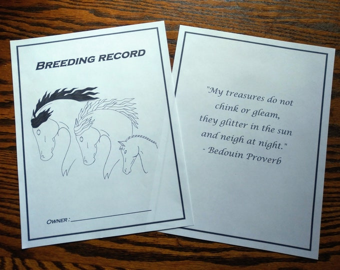 Breeding Record, Equine Journal System, Letter size, A4 size, horse record keeping, horse breeding journal