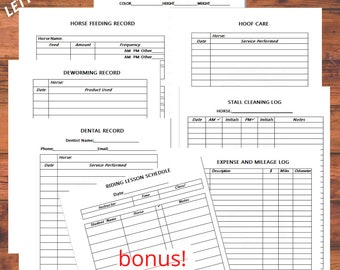 Equine Journal System, Boarding Stable Edition, Letter/A4 size, horse record keeping, horse planner, horse health and expense tracker