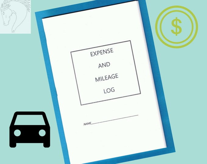 Expense and Mileage Log booklet, Equine Journal System, printable, journal, downloadable version,Horse and Pony record