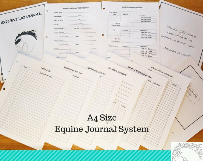 Featured listing image: Equine Journal System, A4 size, horse record keeping,horse planner, horse health and expense tracker