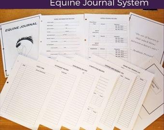 Equine Journal System, A6 size, Pocket size,  4 x 6, horse record keeping, horse planner, horse health