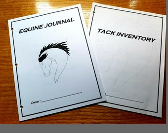 Bundle of Equine Journal System and Tack Inventory, Letter size, horse record keeping,horse planner, horse health and tack tracker