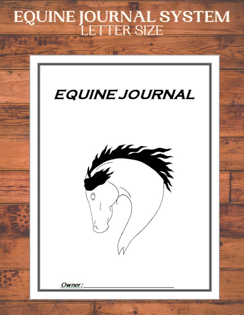 Equine Journal System Letter size horse record keeping image 0