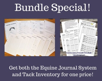 Bundle of Equine Journal System and Tack Inventory, Letter size, horse record keeping, planner, horse health and tack tracker