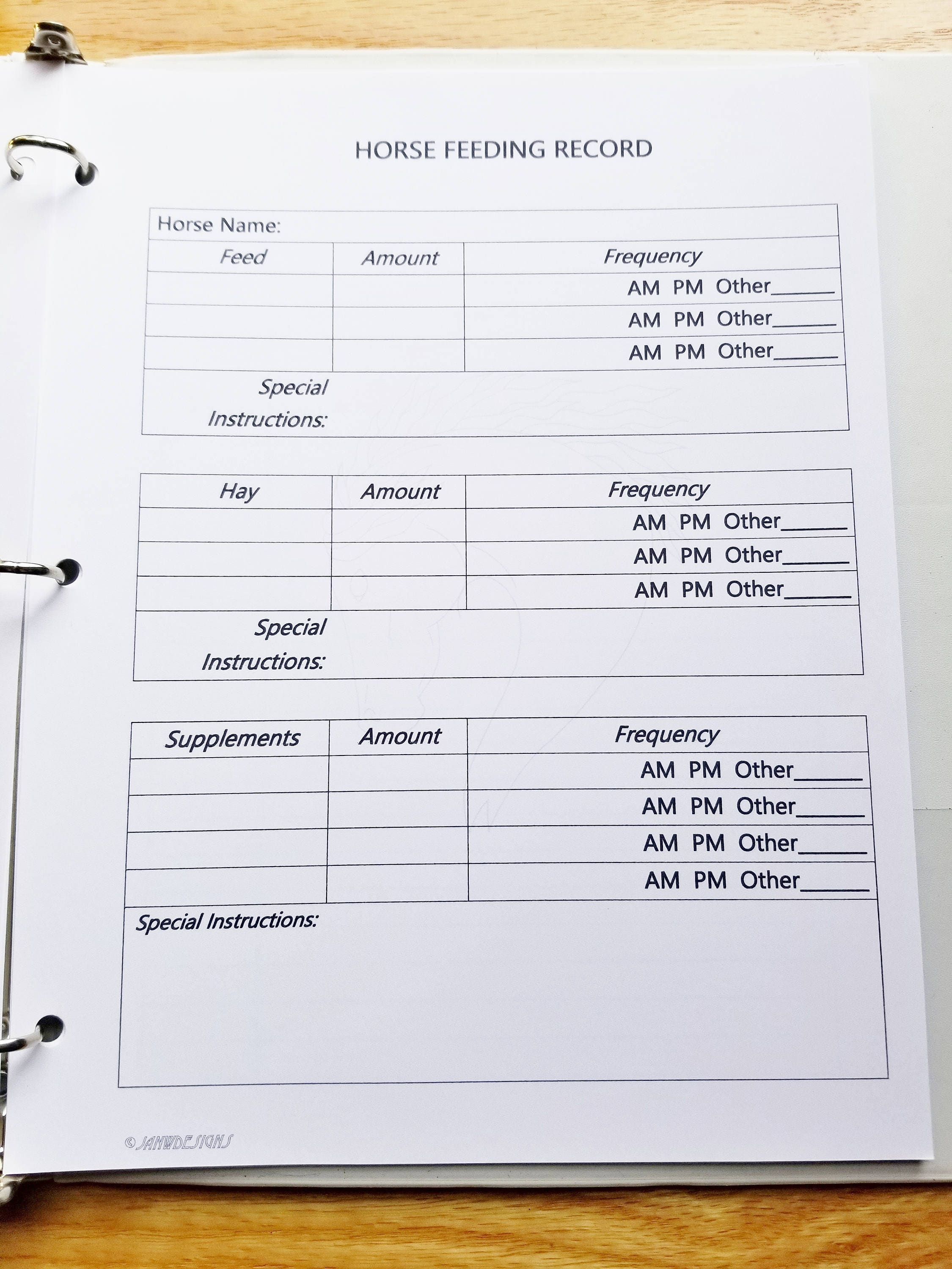 Equine Journal System, Letter size, horse record keeping, horse